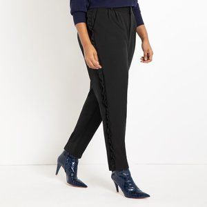 Eloquii Slim Pant with Side Ruffle Detail